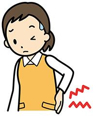 腰の痛みに悩む女性イラスト